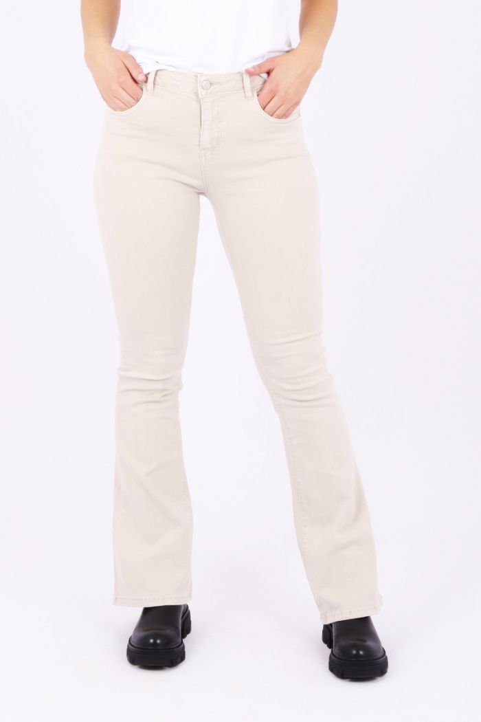 beige flare jeans