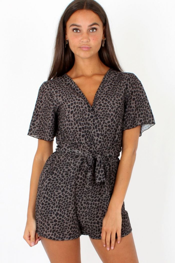Taupe Luipaard Playsuit