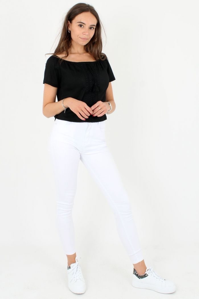 Zwarte Off-shoulder Top