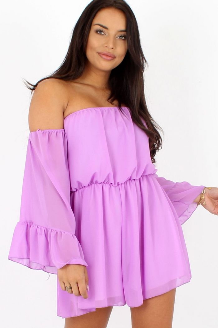 Off-shoulder Ruffle Playsuit Paars