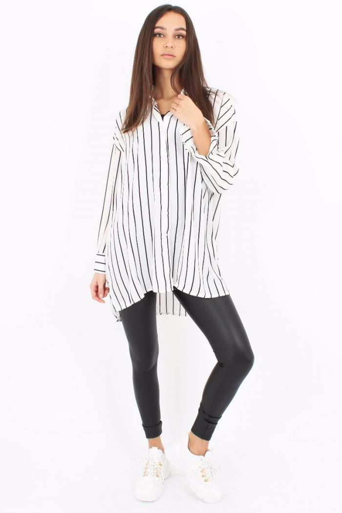 Oversized Blouse Met Strepen Patroon