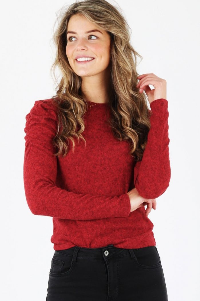 puff sleeve top rood