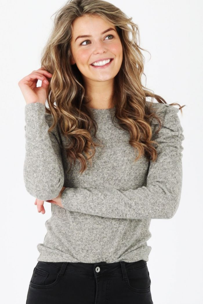 puff sleeve top taupe