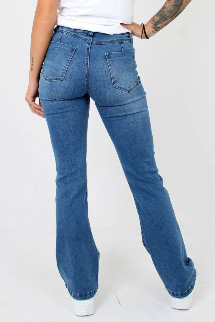 Queen Hearts Flared Jeans Blauw