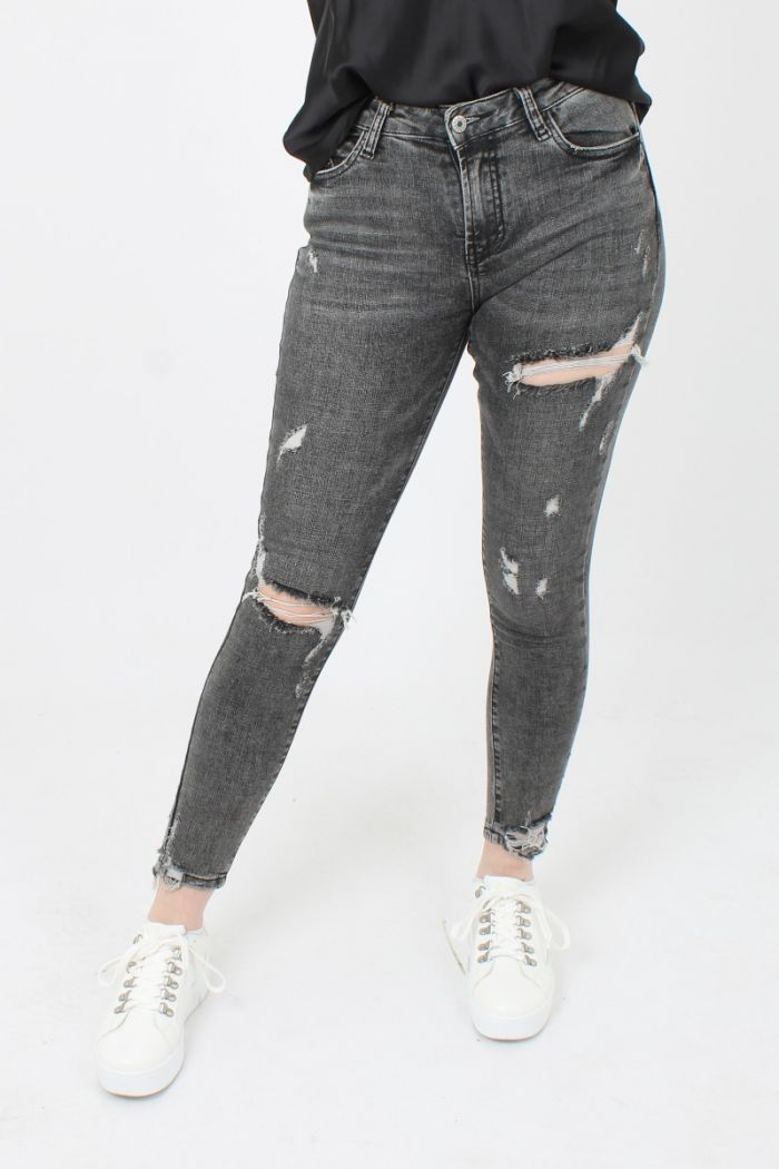 Grijze Ripped Queen Hearts Jeans