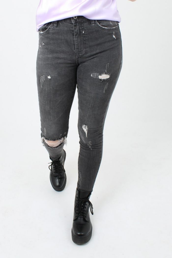Queen Hearts Grijze Ripped Jeans