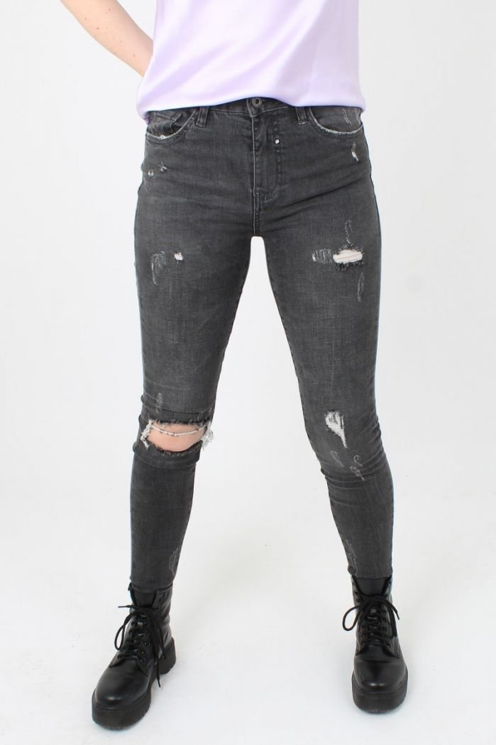 Grijze Ripped Jeans Queen Hearts