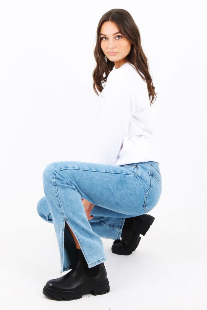 Straight jeans met split Queen Hearts