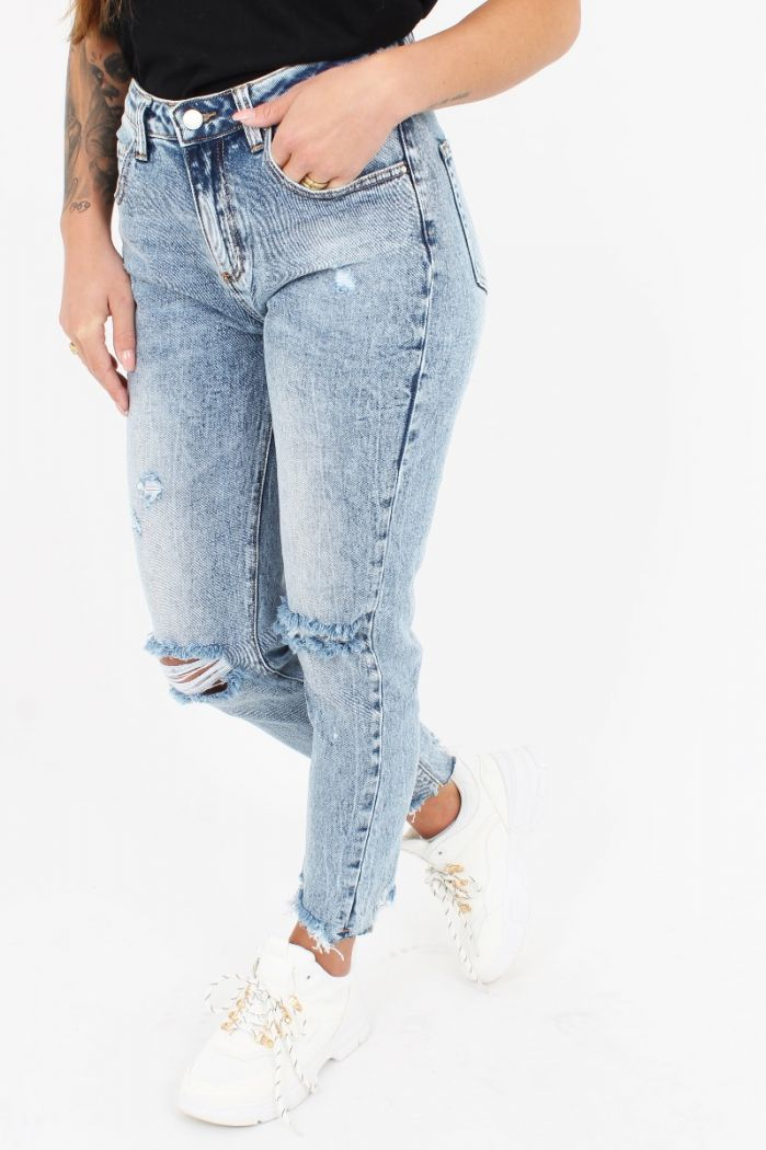 Queen Hearts Mom Jeans W3218-1