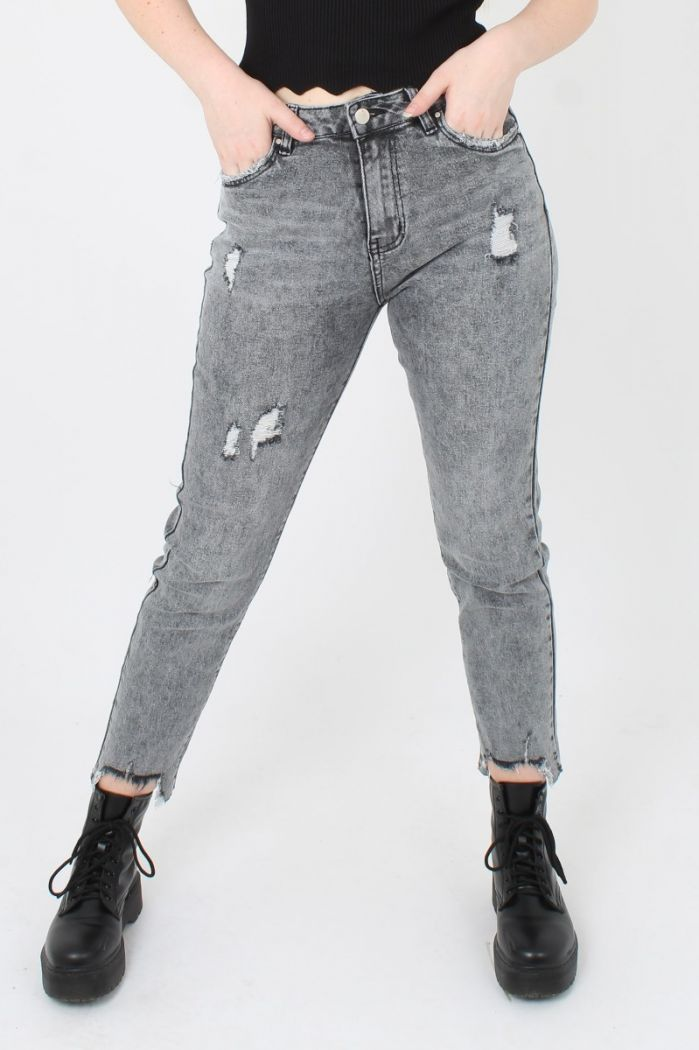 Queen Hearts Washed Mom Jeans Grijs