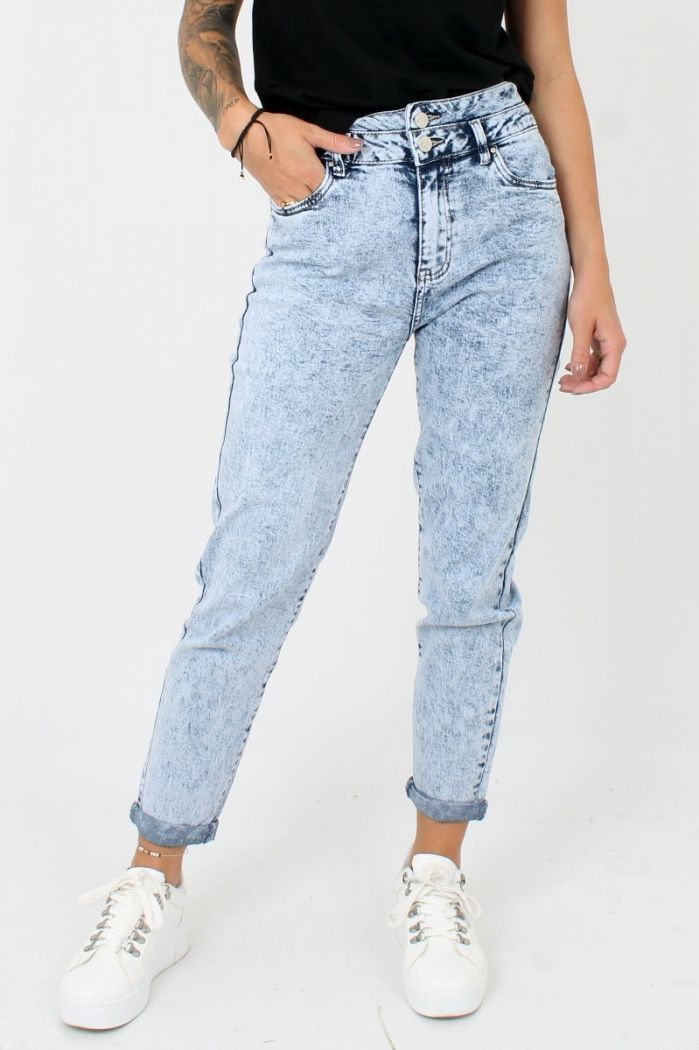 Blauwe Mom Fit Jeans Queen Hearts