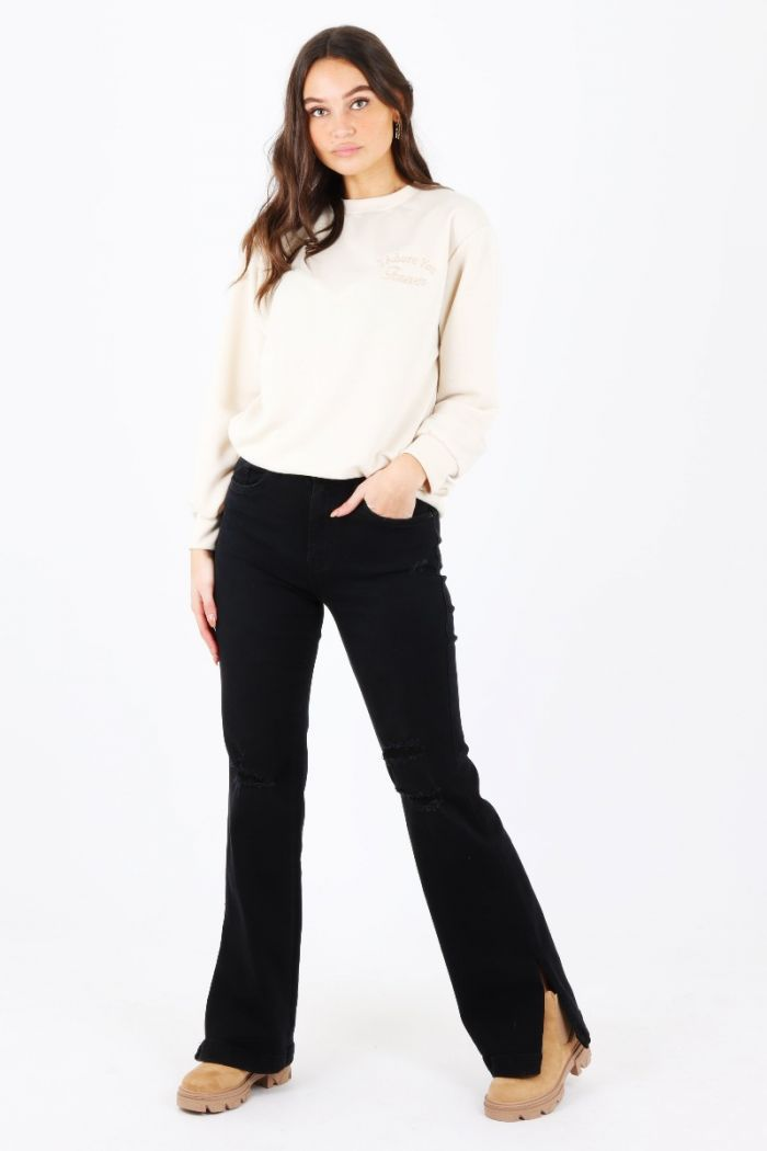 Split jeans Queen Hearts zwart